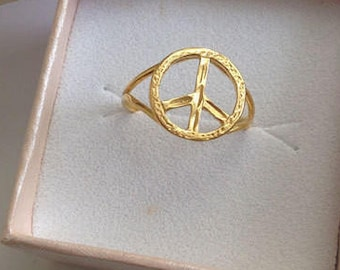 Gold Peace Ring - Stacking Ring