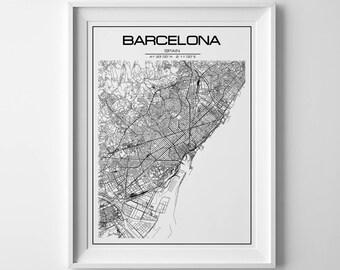 Barcelona map Barcelona print Barcelona poster Spain Barcelona city print Scandinavian print Barcelona map print Map of Barcelona