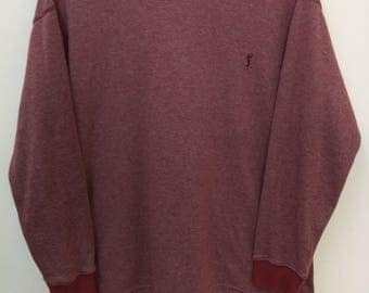 Vintage YVES SAINT LAURENT//Sweatshirt Stripes Maroon Color//Size S//Designer Luxury