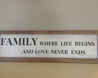 Item 3003 - Wood Sign - Family Where Life Begins and Love Never Ends