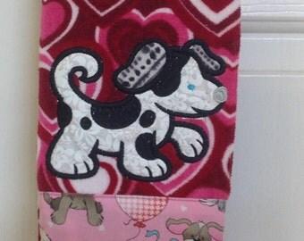 Dalmatian Valentine dish towel