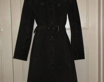 Vintage 1970s Aquascutum Black Suede Coat