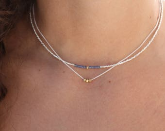 Sapphire Necklace - Sterling Silver - Chocker Necklace - Genuine Red Sapphire - Delicate Necklace-  Dainty Necklace - Chain Necklace