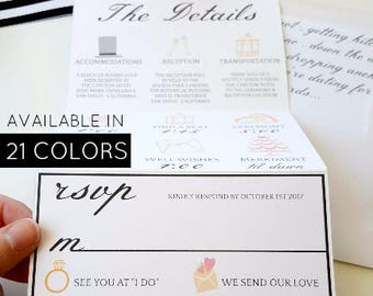 21 Colors . Folded Fun Wedding Invitation . Fold out Wedding Invitation . Unique Wedding invitation . Black and White . We Do Invitation