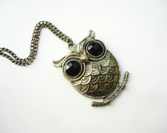 Owl gifts for man, antique bronze owl necklace, Athena owl pendant, Annabeth chase owl charm, owl on branch jewelry, owl choker teen gift