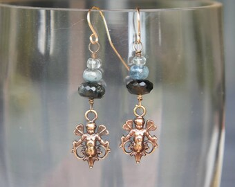 Luxe Winged Cherub Fairy Earrrings with a Trio of Aquamarine Gemstones