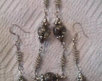 Handmade wire wrapped silver bracelet and earring set