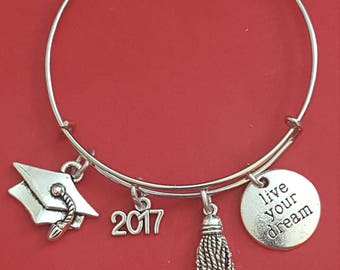 Silver Graduation 2017 Charm Bracelet