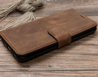 Leather Wallet Case for Samsung Galaxy S8, Brown Leather Case for Galaxy S8, Wallet Case for Samsung S8, Leather Case for Galaxy S8 #POLİ-Wİ