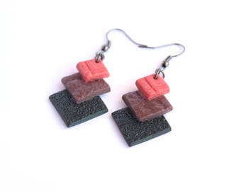 Geometric earrings Everyday earrings Red earrings Black earrings Dangle and drop earrings Ceramic jewelry Porcelain earrings