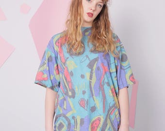 80s 90s t-shirt size S, abstract print pattern tee, colorful neon vintage t-shirt, retro oldskul tee