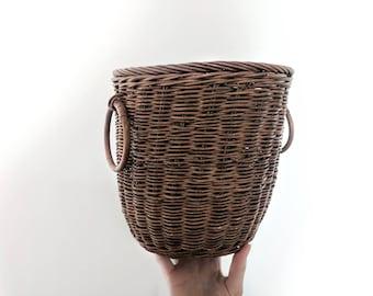 woven wicker basket planter | dark brown