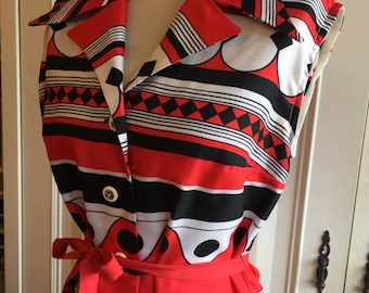 Vintage 60s 70s red black white shirt sleeveless dress/Psychedelic Scooter/twiggy/Geometric/M,L