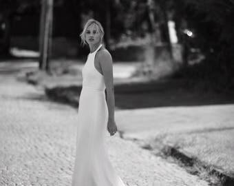 Modern wedding dress, high neck wedding dress, halter wedding dress, ivory wedding dress, scuba wedding dress