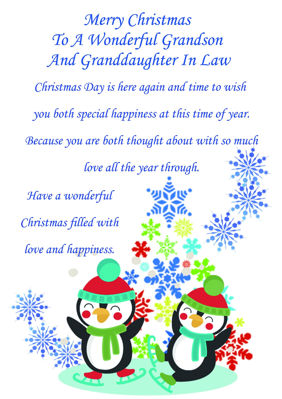 grandson  granddaughter in law christmas card cute