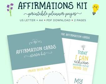 Affirmations, Self Help, Affirmation Cards, Printable Worksheet, Positive Vibes, Mindfulness, Printable Planner, Self Care, Mental Health