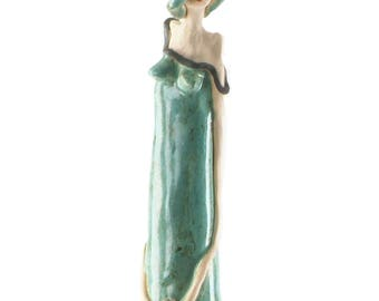 Vintage Elegant Lady in a Teal Dress | Single Red Rose | Very Large Ceramic Sculpture | Fabulous Room Decor