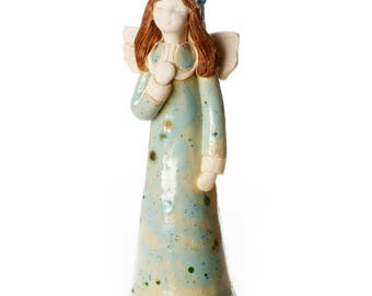 Guardian Angel of New Beginnings in a Teal Dress | Hand Made Ceramic Ornament | Quirky & Thoughtful Gift