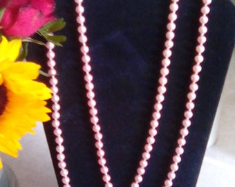 Pink faux pearl long necklace