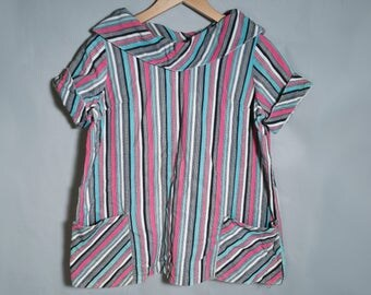 60s OOAK Handmade Boatneck Mod Striped Short Sleeve Blouse Sz Large XL Pink Blue Black White Pockets Unique 1960s Retro Corduroy Top Funky