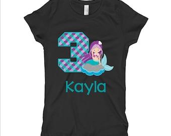 Mermaid Birthday Shirt - Purple Mermaid Birthday Shirt - 3rd Birthday Shirt - Third Birthday Shirt 3 - Girls BIrthday