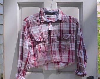 Cropped Plaid Shirt - Bleach Faded Hem, Fall Crop Top