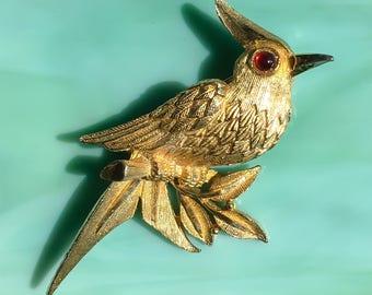 Gold Cardinal Pin | Cardinal Brooch | Cardinal Jewelry | Bird Pin | Bird Brooch | Bird Jewelry | Gift for Her | Animal Pin | Vintage Jewelry