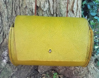 Chartreuse/Olive Leather Stained Crossbody Bag