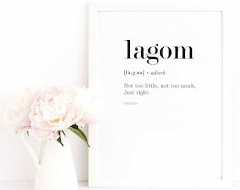 Lagom Poster / Swedish Poster / Quote Print / Scandinavian Print / Text Poster
