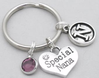 Special Nana vintage style initial keyring | special nana keychain | personalised nana keyring | nana gift | letter | birthstone