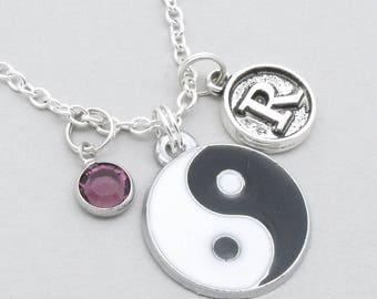 Yin Yang necklace with vintage style initial | yin yang pendant | personalised yin yang jewellery | yin yang gift