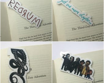 Redrum bookmark / Horror bookmark / Octopus bookmark / Just one more bookmark / Laminated bookmark / Bookish / Gift idea / Stephen King