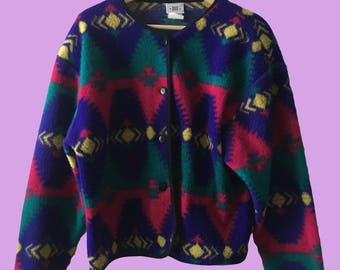 SMALL 1980's David Wayne 100% Wool Cardigan