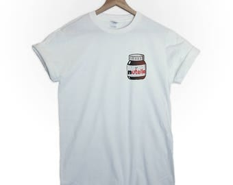 Nutella pocket size print tshirt shirt tee top parody cute funny sweet tumblr graphic blogger