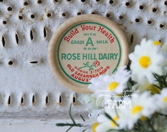 Vintage Rose Hill Dairy Milk Bottle Cap Magnet - Cow with Crown - Wax Cap - Advertising - Kitchen - Farmhouse Decor -