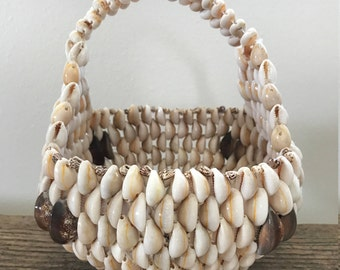 Vintage Cowrie Shell Basket