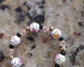 Porcelain gold hematite, crystal bracelet