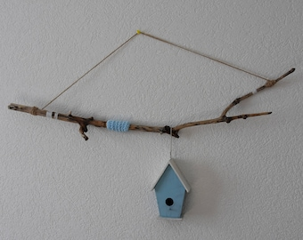 Wall hanging with birdhouse