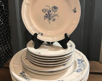 Brick Oven Stoneware In Bleu Jardin - Dinner Plates - Salad Plates - Saucers - White With Blue Flowers