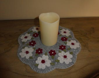 Wool blend felt, flowers, candle mat, wool candle mat, table top decoration, office decoration, kitchen decor, spring, summer, home decor,