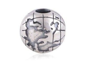 World Globe Clip Charm, 925 Sterling Silver Charm Fits to all Pandora Charm Bracelets