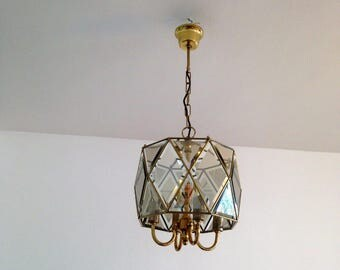 Beveled glass and brass - chandelier retro chic