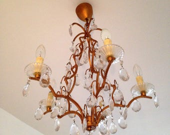 Antique crystal chandelier in brass - french