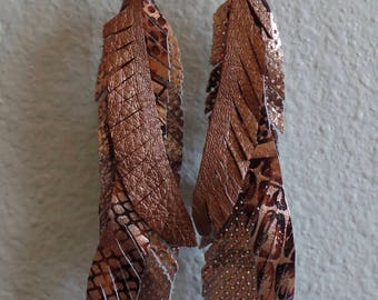Long Copper Leather Feather Earrings