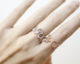 Serotonin Molecule Statement Ring, Serotonin ring, Chemistry Compound Ring, chemistry jewelry