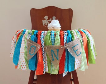 Monster Fish Dino High Chair Banner / First Birthday Photo Shoot Prop / Cake Smash / Orange Turquoise Blue Fabric Garland / One Banner
