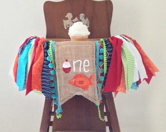 """Fishing High Chair Cover/O """"Fish"""" ally One/The Big One/Party Decor/Highchair Banner/Cake Smash Birthday Photo Shoot Prop Highchair Tutu"""