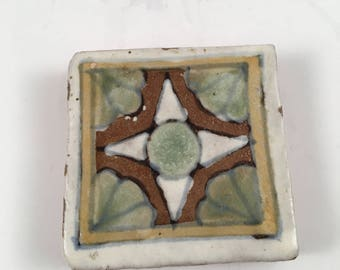 Small art tile, red clay, handmade
