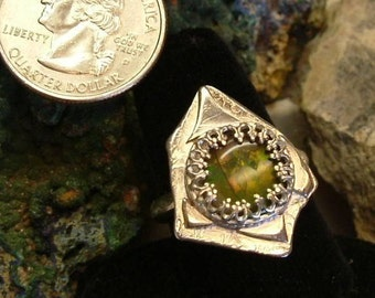 Ammolite Ring Sterling Silver OOAK Dragon Shield Statement Ring Bright to Soft Green to Orange Gem Ammolite Utah Deposit Size 9 1/4  200G