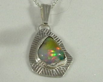 Ethiopian Fire Opal Necklace Sterling Silver High Grade Large Statement Jewelry Handmade Red Green Blue Yellow Fire Statement Necklace 396 G